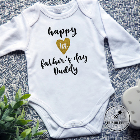 Happy 1st Father's Day Baby Bodysuit.  Gift for Dad