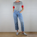 Grey Marl Organic Cotton T-shirt with Red Organic Trim / Bands