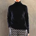 Organic Cotton Handcrafted  Black Long Sleeve Polo Neck T-shirt
