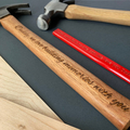 Personalised hammer - We love building memories with you (script font)