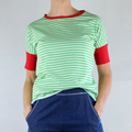 Green and White Stripe Cotton T-shirt with Red Rib Bands