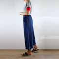 Cropped Wide Leg Denim Pants with White Top Stitching, Pockets, Flat Front and E