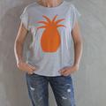 Grey Marl Handmade Organic Cotton T with Orange Pineapple