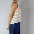 Mustard and White Stripe Cotton Sleeveless T Shirt with Orange Cotton Rib Trim