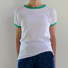 White Handmade Organic Cotton T-shirt with Upcycled Green cotton Lycra Trim / Ba