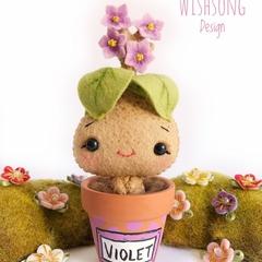 Cute pot plant flower creature, kawaii felt Violet plant