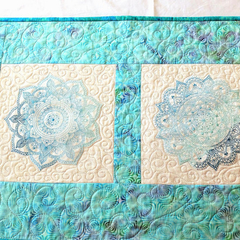 Quilted Embroidered Patchwork Table runner, Mandala embroidery