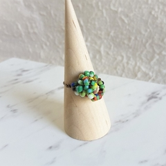Statement seed beaded Knot ring (Green mix , Boho Woodland Natral Hippie Cute )