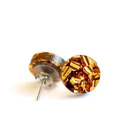 Bronze Glitter Earrings ✧ Surgical Steel ✧ Bronze Acrylic Jewellery ✧ Studs