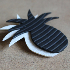 Pineapple Brooch in Black + White made from Upcycled Materials