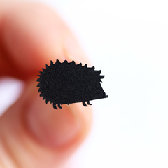 Hedgehog Earrings ✧ Surgical Steel ✧ Black Matte Acrylic Jewellery ✧ Studs