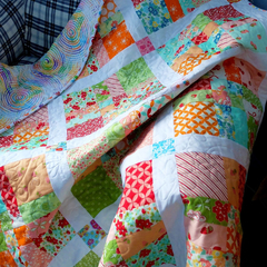 Patchwork Lap Quilt/sofa throw, child's quilt, soft pastels, citrus, white
