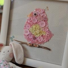 Pink bird -Button window box