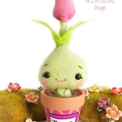 Cute pot plant flower creature, kawaii felt tulip plant