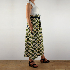 Belted Paper Bag Waist A Line Skirt with Pockets