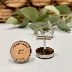 Personalised wooden cufflinks for Father's Day - My Children