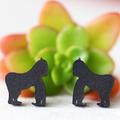 Gorilla Earrings ✧ Surgical Steel ✧ Black Matte Acrylic Jewellery ✧ Studs