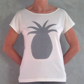 Hand Painted Pineapple Organic Cotton T- shirt