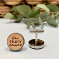 Personalised wooden cufflinks for Father's Day - This Daddy Belongs To