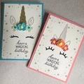 Kids Birthday Handmade Card - purple Unicorn -  FREE POST