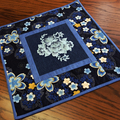 Patchwork, quilted, embroidered table topper, lamp table topper or wall hanging,