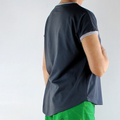 Charcoal Grey Organic Cotton T-shirt with Grey Organic Trim / Bands in a Loose /