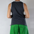 Organic Charcoal Grey Cotton Sleeveless T Shirt with Organic Grey Marle Rib Trim