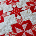 Red and white star patchwork single bed quilt, lap quilt, sofa throw