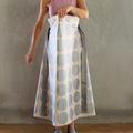 Metallic Silver Spot Paper Bag Waist A Line Skirt