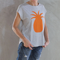 Grey Marl Handmade Organic Cotton T with Orange Pineapple