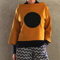 Mustard Long Sleeve Top with Large Black Dot