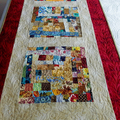 Queen or King bed Patchwork quilted red and gold bed runner,  scrappy bed scarf
