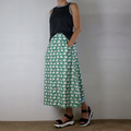 Organic Cotton A-Line Skirt in Mint Green with White and Pink Swans, Flat Front,