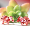 Dinosaur Stud Earrings ✧ Surgical Steel ✧ Triceratops Acrylic Jewellery ✧ Pink