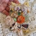 Beaded Boho cuff, Embroidered  festival cuff bracelet, Floral cuff