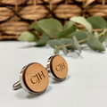 Personalised bamboo cufflinks for Father's Day - Classic Monogram