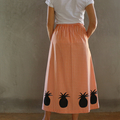 Orange check Pineapple skirt with pockets and elastic waist