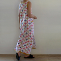 Midi Dress in White Cotton with Coral Navy Mustard/Gold Print with Front Pocket