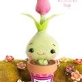 Cute pot plant flower creature, kawaii felt tulip plant