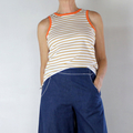 Mustard and White Stripe Cotton Sleeveless T Shirt with Orange Cotton Rib Trim