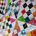 Scrappy pinwheel patchwork quilt, double or single bed colourful quilt