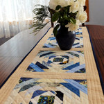 Blue and cream patchwork quilted table runner, pineapple blocks table topper, ha