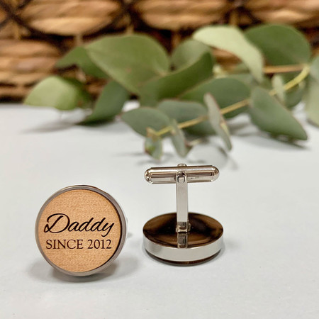 Personalised wooden cufflinks for Father's Day - Daddy Since