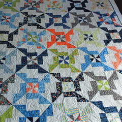 Colourful modern patchwork quilt, lap quilt, sofa throw, original design