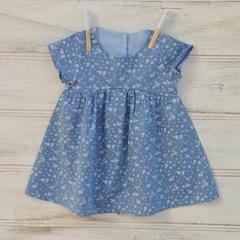 Girls summer dress, blue dress, playclothes for girls