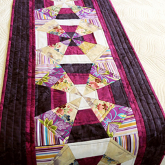 Patchwork quilted Queen bed runner,  purple (plum and grape shades) kaleidescope