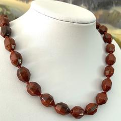 Genuine Red JASPER Faceted Gemstones Knotted Necklace.