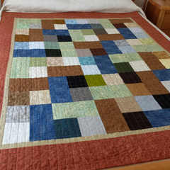 Modern Sofa Throw Patchwork Quilt Earth Tones Brown Blue Green, Man's lap quilt