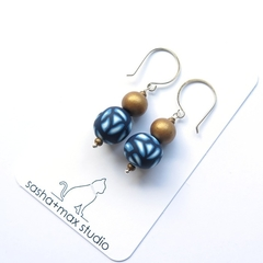 Navy Rose drop sterling and polymer clay earrings