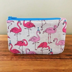 Coin purse - flamingos with party hats